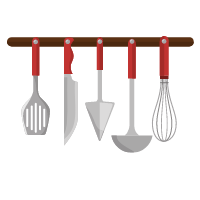 Polishes, spoons and kitchen tongs