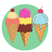 Ingredients, accessories for ice cream