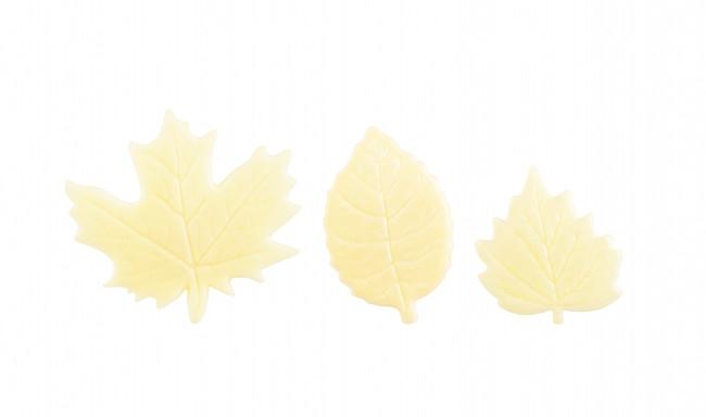 Decoratiuni din ciocolata alba WHITE LEAVES SET33993 0.46kg BARB