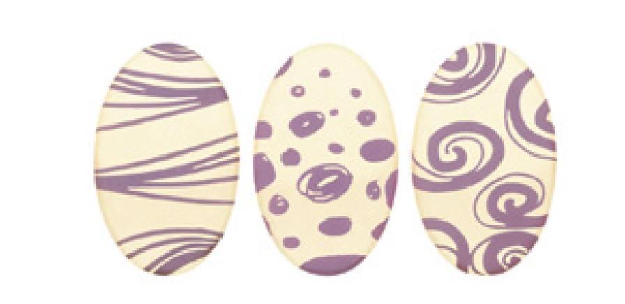 Decoratiuni din ciocolata OUA DE PASTE violet 165 buc 0,39 kg 33919 BARB