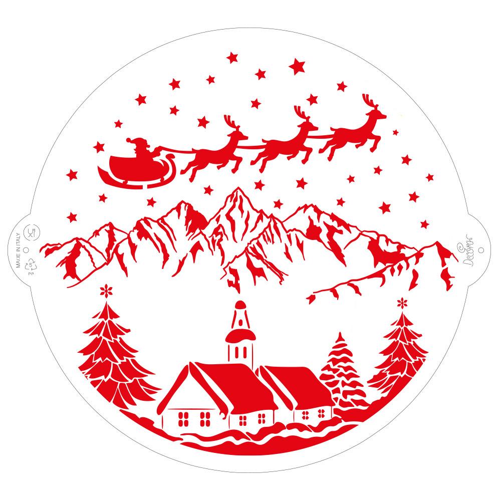STENCIL CHRISTMAS LANDSCAPE 25cm 9270982 DER