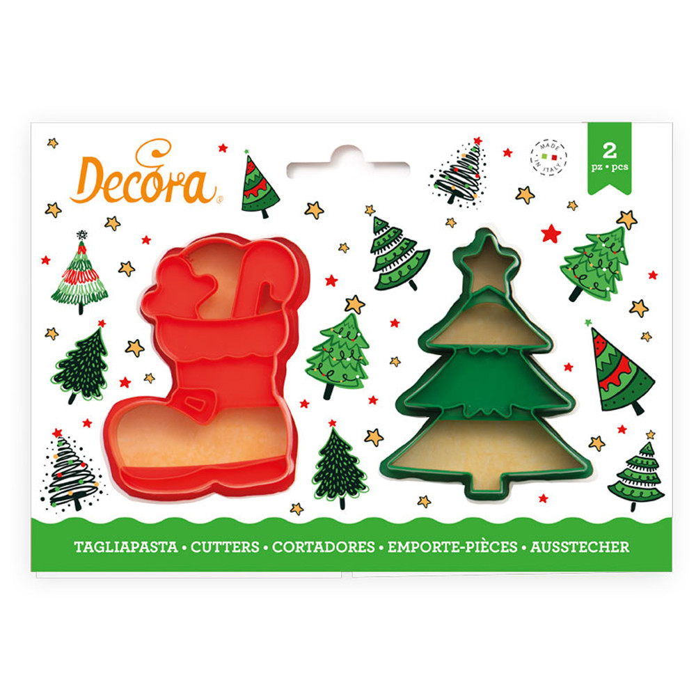 Decupatoare CHRISTMAS TREE AND BOOT set din 2 buc. 8/6 H 2,2 CM 0255096 DER