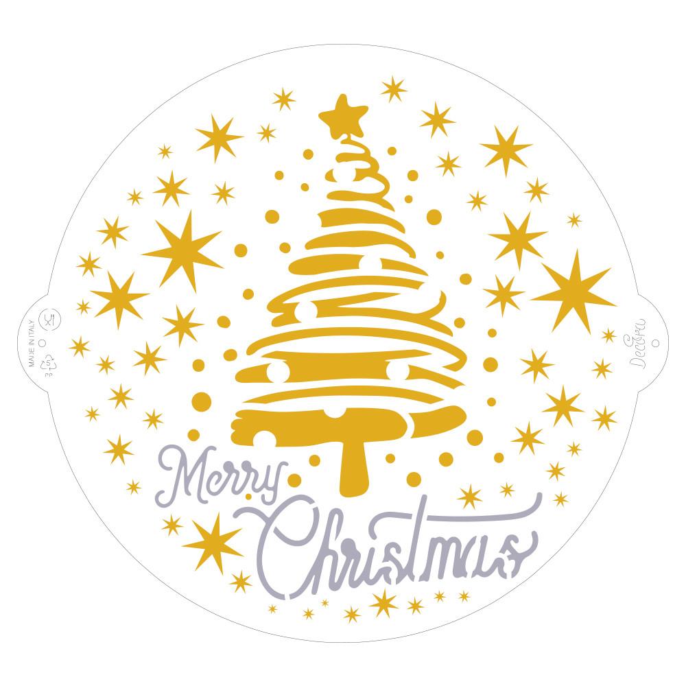 STENCIL MERRY CHRISTMAS TREE & STAR 25cm 9270979 DER