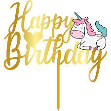 Topper - Happy Birthday Unicorn/Auriu 165mm 14924 CSL