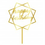 Topper - Happy Birthday Patrat/Auriu 14884 CSL