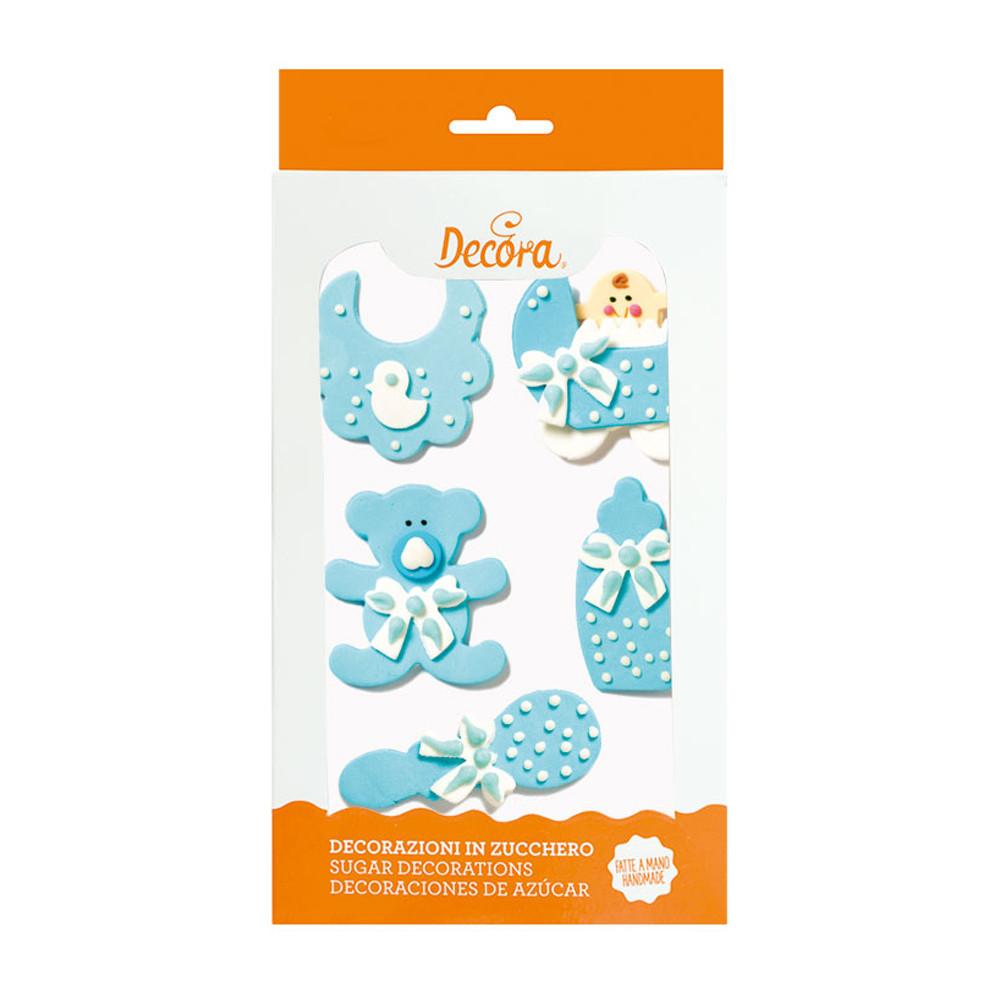 Decoratiuni zahar bebelus baietel albastru 5 buc/set 0500321 DER