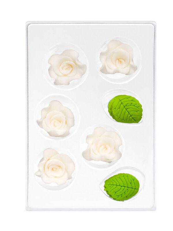 Trandafir din zahar roz 7-ka C-2600 PJT, set 5 flori si 6 frunze
