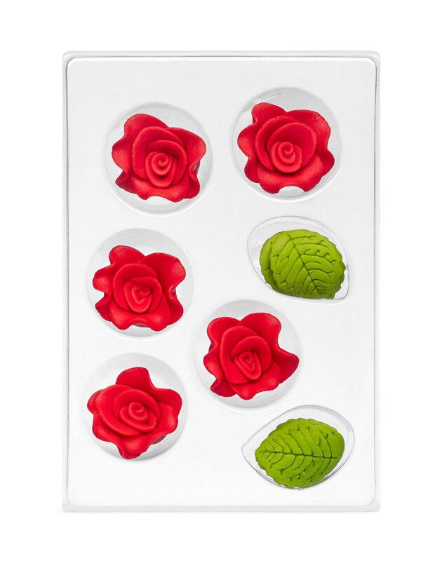Trandafir din zahar rosu 7-ka C-2602 PJT, set 5 flori 30 mm si 6 frunze