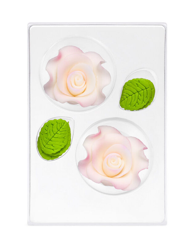 Trandafir din zahar mare alb umbrit C-2130 PJT, set 2 flori 60 mm si 6 frunze