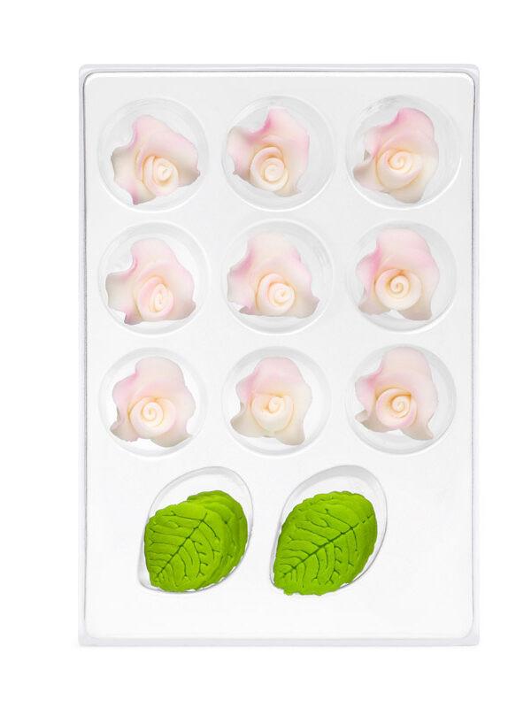 Trandafir din zahar mic alb umbrit C-2830 PJT, set 9 flori 25 mm si 10 frunze
