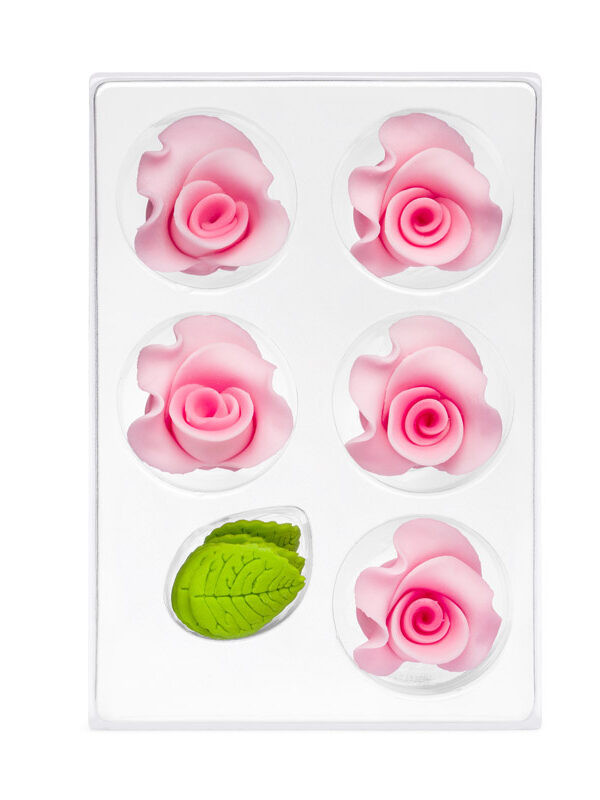 Trandafir din zahar mediu roz  C-2703 PJT, set 5 flori 35 mm si 10 frunze
