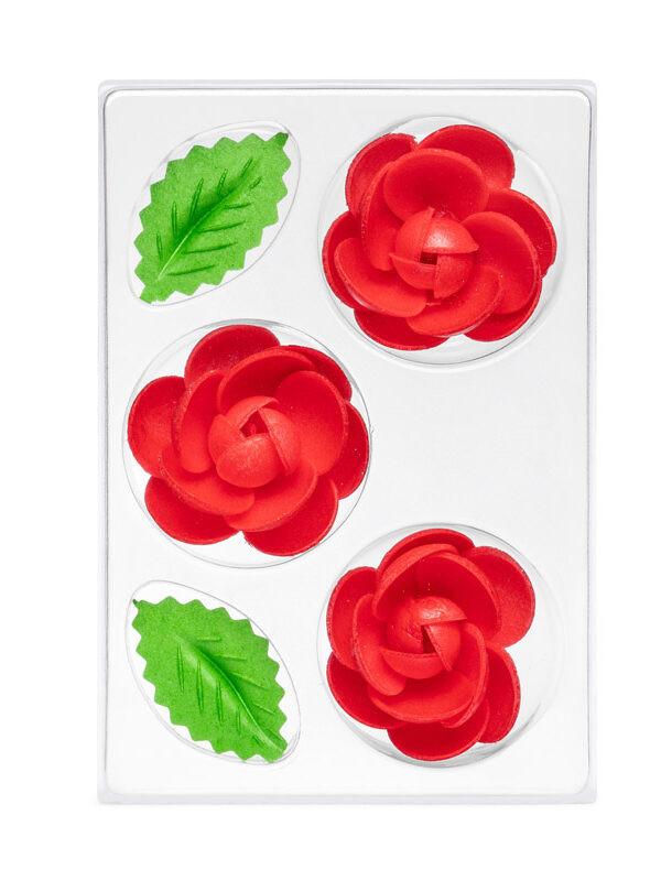 Trandafir din napolitana mic rosu O-1302 PJT, set 3 flori 55 mm si 6 frunze
