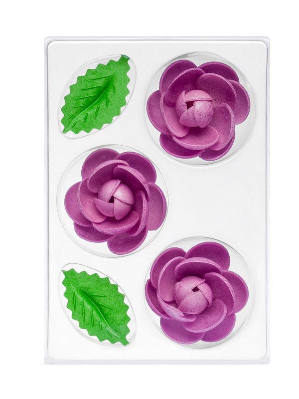 Trandafir din napolitana mic violet O-1311 PJT, set 3 flori 55 mm si 6 frunze
