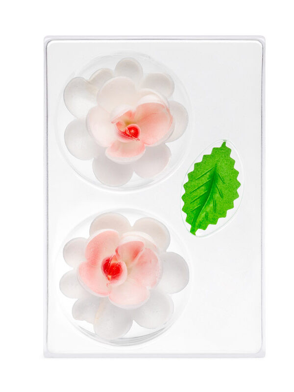 Trandafir din napolitana mare rosu O-1102 PJT, set 2 flori 70 mm si 4 frunze