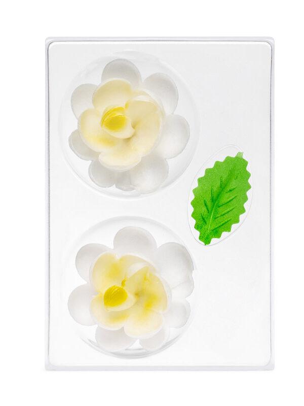 Trandafir din napolitana mare galben O-1101 PJT, set 2 flori 70 mm si 4 frunze