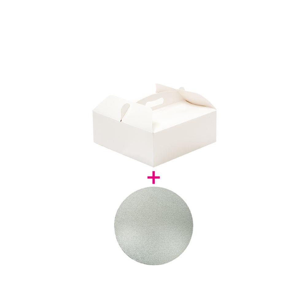 Set cutie tort 23x23x10h cm/suport tort Ø cm 22,5xH3 mm 340105 DER
