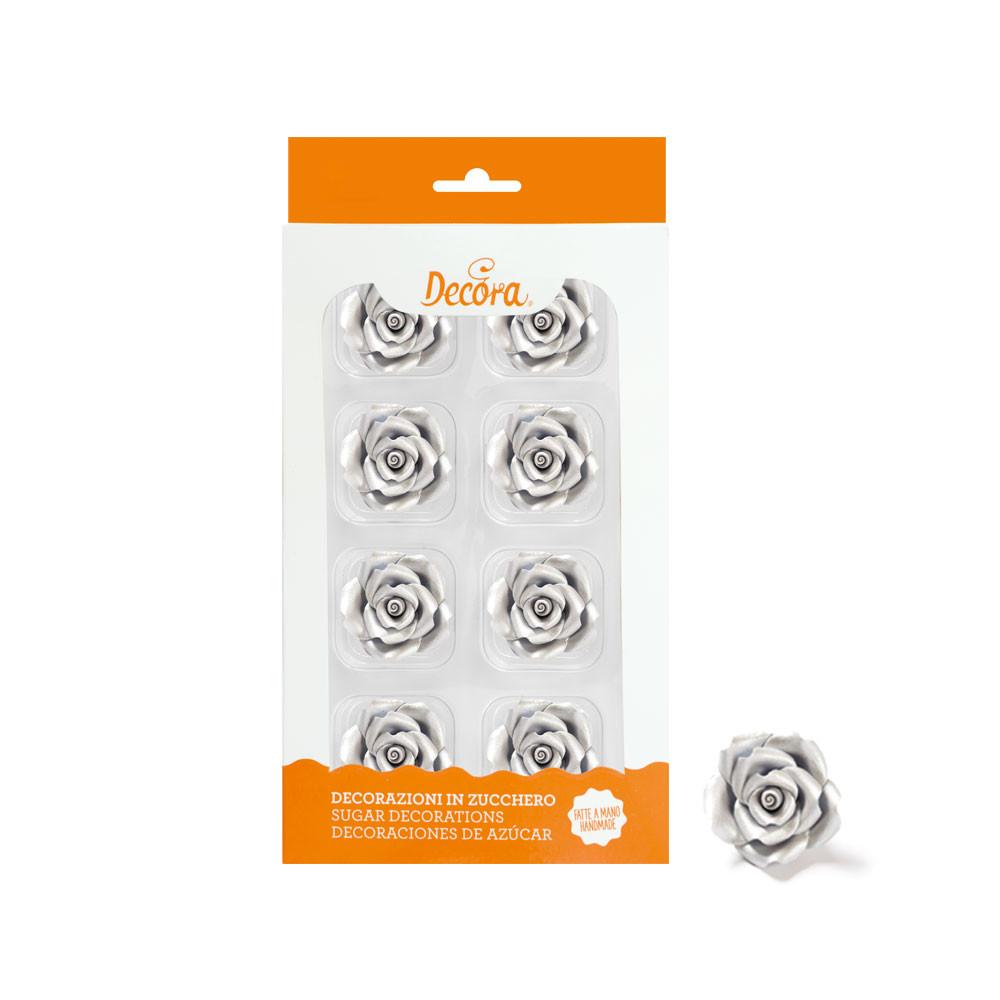 Trandafir zahar mediu argintiu 8 buc 500378 DER